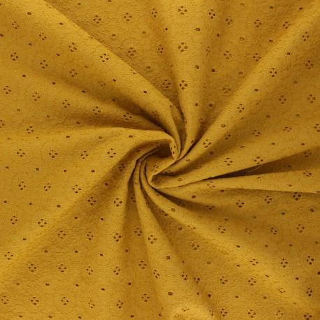 Tissu voile de coton broderie anglaise Coline - jaune moutarde x 10cm