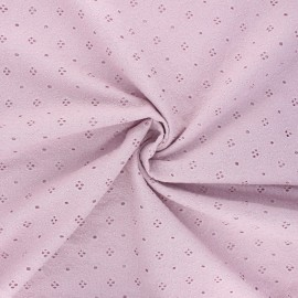 Openwork cotton voile fabric - water pink Coline x 10cm