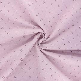 Tissu voile de coton broderie anglaise Coline - eau de rose x 10cm