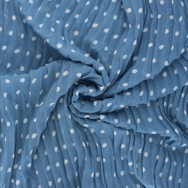 Pleated polyester fabric - swell blue Pois x 10cm