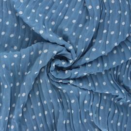Tissu polyester plissé Pois - bleu houle x 50cm