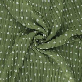 Pleated polyester fabric - khaki Pois x 10cm
