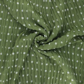Tissu polyester plissé Pois - kaki x 50cm