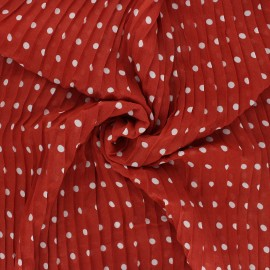 Pleated polyester fabric - terracotta Pois x 10cm