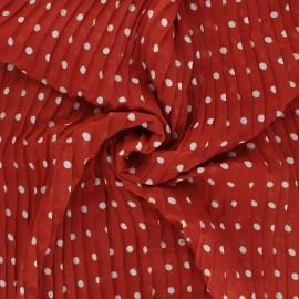 Tissu polyester plissé Pois - terracotta x 50cm