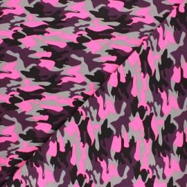 Printed Jersey fabric - neon pink Neon camo x 10cm