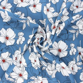 Tissu crêpe élasthanne fleuri Sibylle - bleu houle x 10cm