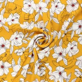 Tissu crêpe élasthanne Sibylle - jaune moutarde x 10cm