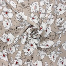 Tissu crêpe élasthanne Sibylle - grège x 10cm
