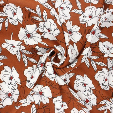 Elastane crepe fabric - camel Sibylle x 10cm