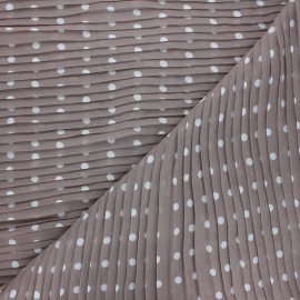 Pleated polyester fabric - taupe Pois x 10cm