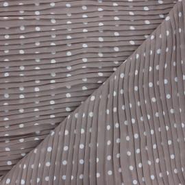 Tissu polyester plissé Pois - taupe x 50cm