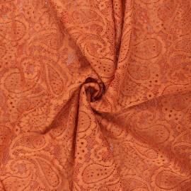 Elastane lace fabric - ginger Luce x 10cm