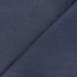 Tissu coton chambray gaufré Rotterdam - bleu nuit x 10cm