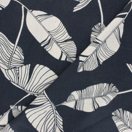 Linen and viscose fabric - night blue Exotic leaves x 10 cm