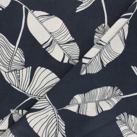 Tissu lin viscose Exotic leaves - bleu nuit x 10 cm