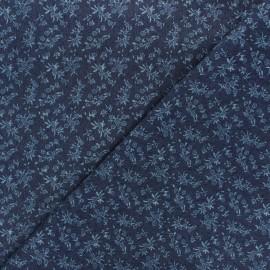 Tissu jeans fluide élasthanne Wild flowers - bleu nuit x 10cm