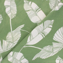 Linen and viscose fabric - olive green Exotic leaves x 10 cm