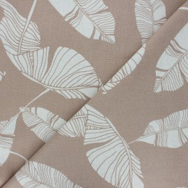 Tissu lin viscose Exotic leaves - grège x 10 cm