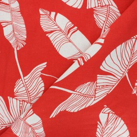 Linen and viscose fabric - red Exotic leaves x 10 cm