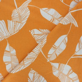 Linen and viscose fabric - orange Exotic leaves x 10 cm