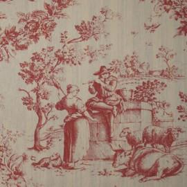 Tissu toile de Jouy Courtisane Rouge