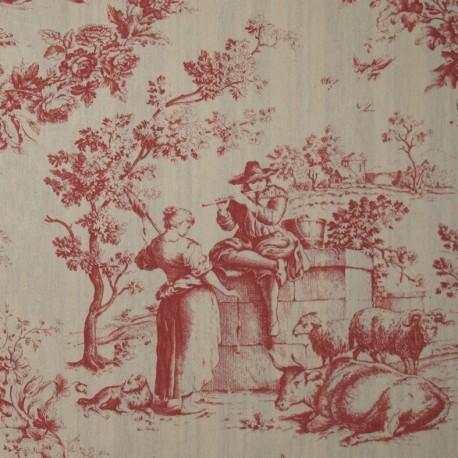 Toile de Jouy Fabric - Courtisane Red / Ecru x 10cm