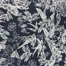 Linen and viscose fabric - night blue Passion flower x 10 cm
