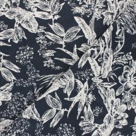 Tissu lin viscose Passion flower - bleu nuit x 10 cm