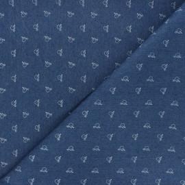 Patterned elastane jeans fabric - blue Vélocipède x 10cm