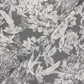 Linen and viscose fabric - taupe Passion flower x 10 cm