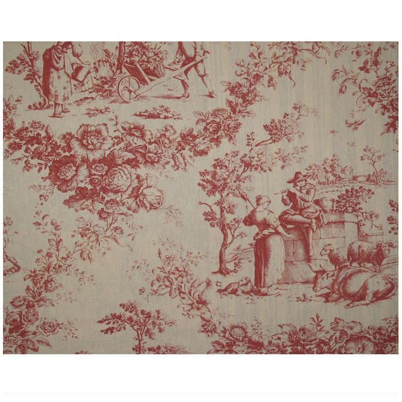 Toile De Jouy Fabric Courtisane Red Ecru X 64cm Ma