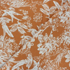 Linen and viscose fabric - orange Passion flower x 10 cm