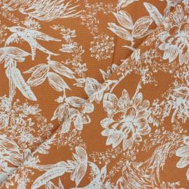 Tissu lin viscose Passion flower - orange x 10 cm
