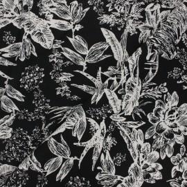 Tissu lin viscose Passion flower - noir x 10 cm