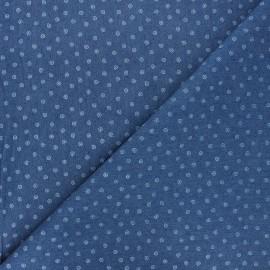 Patterned elastane jeans fabric - blue Tourbillon x 10cm