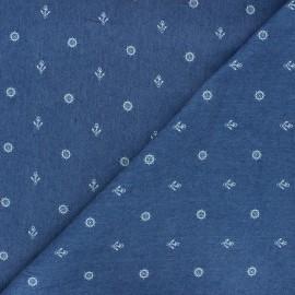 Patterned elastane jeans fabric - blue Gouvernail x 10cm