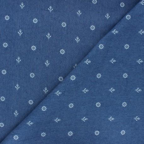 Tissu jeans fluide élasthanne Gouvernail - bleu x 10cm