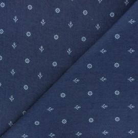 Patterned elastane jeans fabric - midnight blue Gouvernail x 10cm
