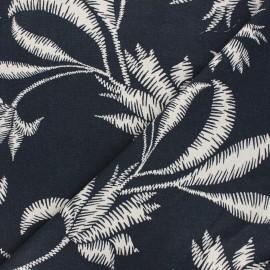 Tissu lin viscose Apolline - bleu nuit x 10 cm
