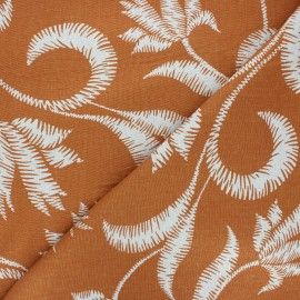 Linen and viscose fabric - orange  Apolline x 10 cm