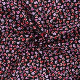 Poplin cotton fabric - black Mon amour x 10cm