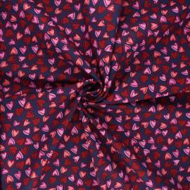 Tissu coton popeline Mon amour - bleu nuit x 10cm