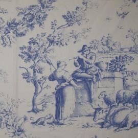 Tissu toile de Jouy percale Courtisane Bleu