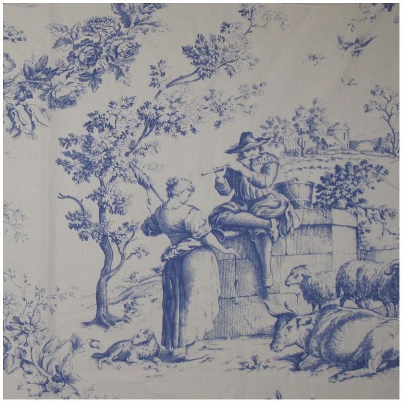 Tissu percale de jouy courtisane bleu x 10cm ma petite - Rideaux toile de jouy ...