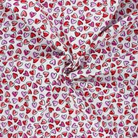 Poplin cotton fabric - white Mon amour x 10cm