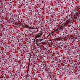Tissu coton popeline Mon amour - rose x 10cm