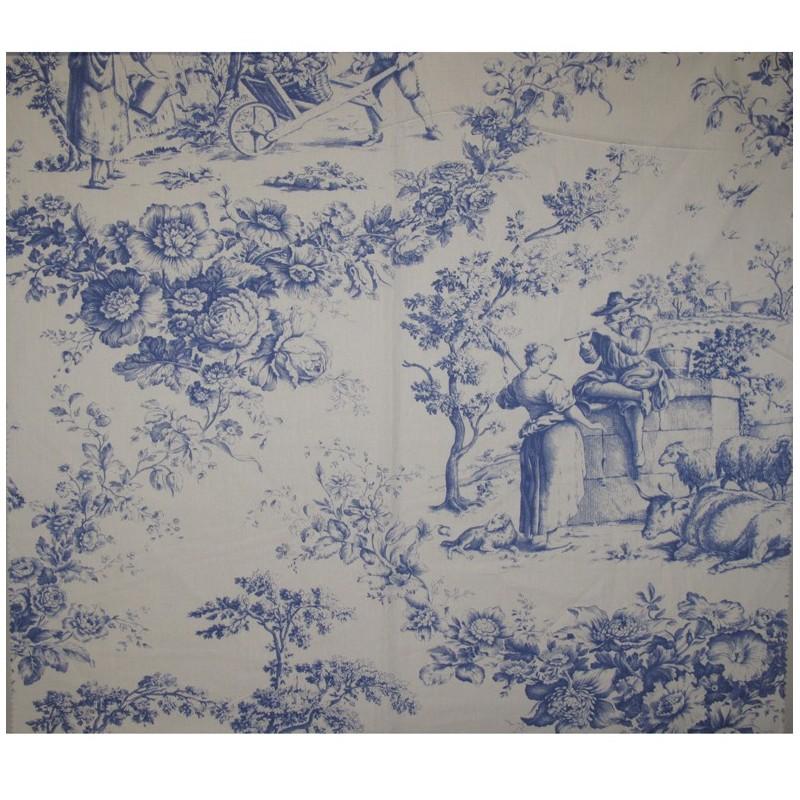 tissu percale de jouy courtisane bleu x 64cm ma petite. Black Bedroom Furniture Sets. Home Design Ideas