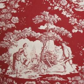 Tissu toile de Jouy Courtisane Bordeaux
