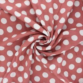 Tissu viscose à pois Séville - bois de rose x 10cm